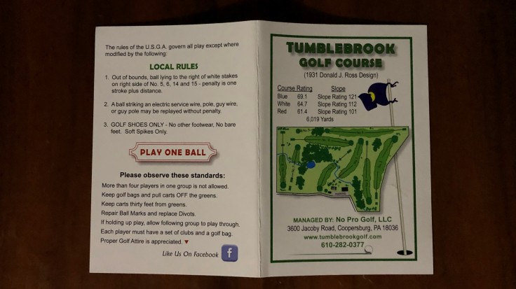 Tumblebrook Golf Scorecard Cover